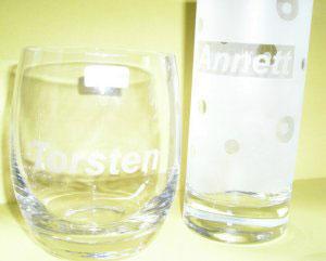 Trinkglas-Beschriftung