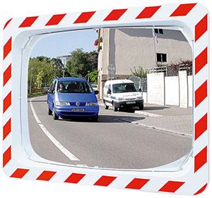 Verkehrsspiegel 600x400 mm Rand rot/weiß