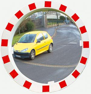 Verkehrsspiegel 800 mm rund Rahmen rot/weiß 3 Jahre Garantie